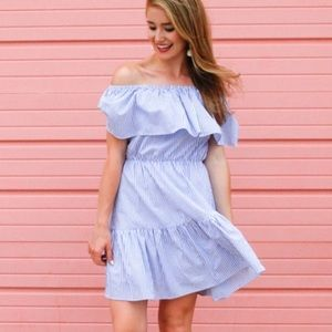 NWT, Blue Striped off the shoulder dress